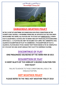DANGEROUS WEATHER POLICY