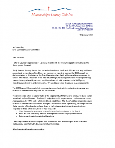 Response to letter from SOGS re-Conflicts of Interest Jan 2019