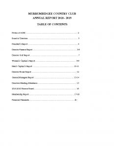 Murrumbidgee Country Club Annual Report 2019