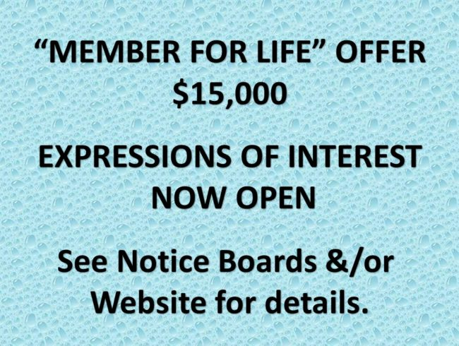 """""""MEMBER FOR LIFE OFFER"""" - EXPRESSIONS OF INTEREST"""